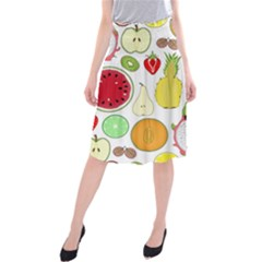 Mango Fruit Pieces Watermelon Dragon Passion Fruit Apple Strawberry Pineapple Melon Midi Beach Skirt by Mariart