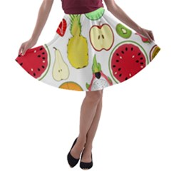 Mango Fruit Pieces Watermelon Dragon Passion Fruit Apple Strawberry Pineapple Melon A Line Skater Skirt by Mariart