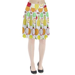 Mango Fruit Pieces Watermelon Dragon Passion Fruit Apple Strawberry Pineapple Melon Pleated Skirt by Mariart