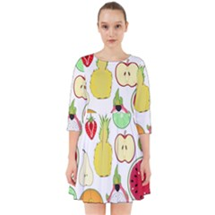 Mango Fruit Pieces Watermelon Dragon Passion Fruit Apple Strawberry Pineapple Melon Smock Dress by Mariart