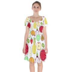 Mango Fruit Pieces Watermelon Dragon Passion Fruit Apple Strawberry Pineapple Melon Short Sleeve Bardot Dress by Mariart