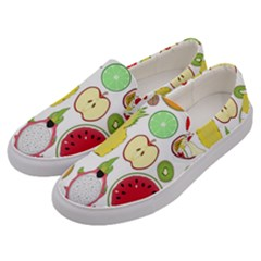 Mango Fruit Pieces Watermelon Dragon Passion Fruit Apple Strawberry Pineapple Melon Men s Canvas Slip Ons by Mariart