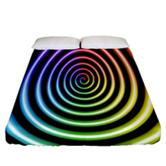 Hypnotic Circle Rainbow Fitted Sheet (queen Size) by Mariart
