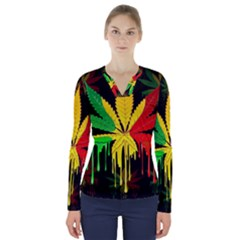 Marijuana Cannabis Rainbow Love Green Yellow Red Black V Neck Long Sleeve Top
