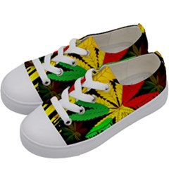 Marijuana Cannabis Rainbow Love Green Yellow Red Black Kids  Low Top Canvas Sneakers by Mariart