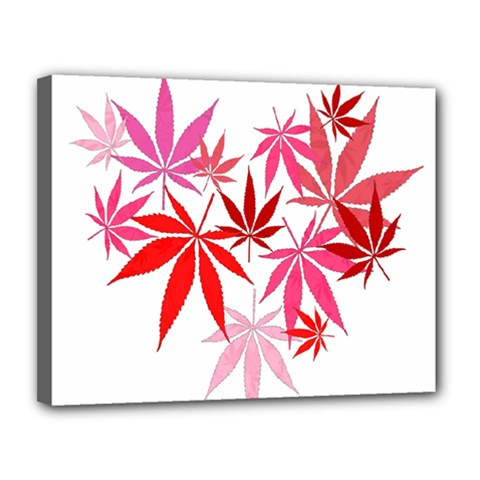 Marijuana Cannabis Rainbow Pink Love Heart Canvas 14  X 11  by Mariart
