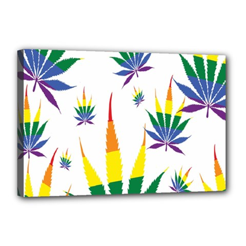 Marijuana Cannabis Rainbow Love Green Yellow Red White Leaf Canvas 18  X 12  by Mariart