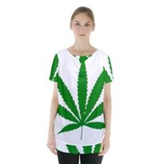 Marijuana Weed Drugs Neon Cannabis Green Leaf Sign Skirt Hem Sports Top by Mariart