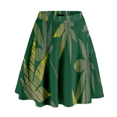 Marijuana Cannabis Rainbow Love Green Yellow Leaf High Waist Skirt by Mariart