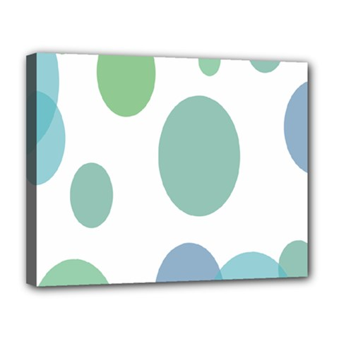 Polka Dots Blue Green White Canvas 14  X 11  by Mariart