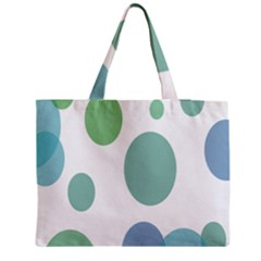 Polka Dots Blue Green White Medium Tote Bag by Mariart