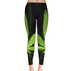 Marijuana Weed Drugs Neon Green Black Light Leggings  by Mariart