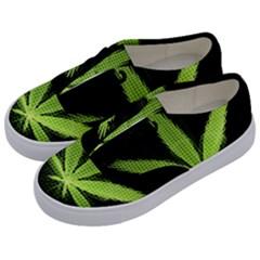 Marijuana Weed Drugs Neon Green Black Light Kids  Classic Low Top Sneakers by Mariart