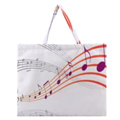 Musical Net Purpel Orange Note Zipper Large Tote Bag by Mariart