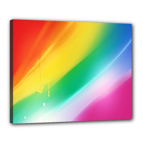 Red Yellow White Pink Green Blue Rainbow Color Mix Canvas 20  X 16  by Mariart
