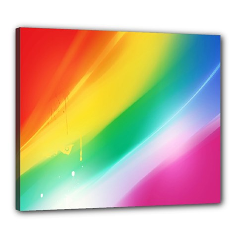 Red Yellow White Pink Green Blue Rainbow Color Mix Canvas 24  X 20  by Mariart