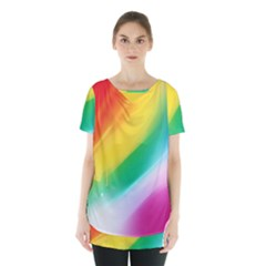 Red Yellow White Pink Green Blue Rainbow Color Mix Skirt Hem Sports Top by Mariart