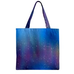 Rain Star Planet Galaxy Blue Sky Purple Blue Zipper Grocery Tote Bag by Mariart