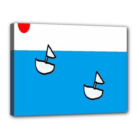 Ship Sea Beack Sun Blue Sky White Water Canvas 16  X 12  by Mariart