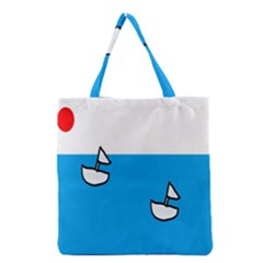 Ship Sea Beack Sun Blue Sky White Water Grocery Tote Bag by Mariart