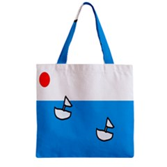 Ship Sea Beack Sun Blue Sky White Water Zipper Grocery Tote Bag by Mariart