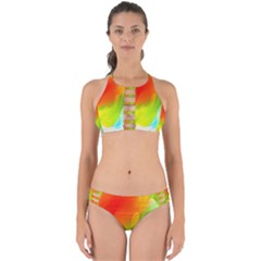 Red Yellow Green Blue Rainbow Color Mix Perfectly Cut Out Bikini Set