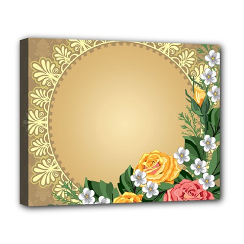 Rose Sunflower Star Floral Flower Frame Green Leaf Deluxe Canvas 20  X 16   by Mariart