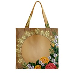 Rose Sunflower Star Floral Flower Frame Green Leaf Zipper Grocery Tote Bag by Mariart
