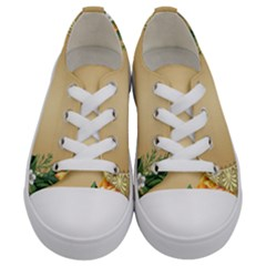 Rose Sunflower Star Floral Flower Frame Green Leaf Kids  Low Top Canvas Sneakers