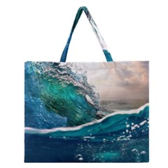 Sea Wave Waves Beach Water Blue Sky Zipper Large Tote Bag by Mariart