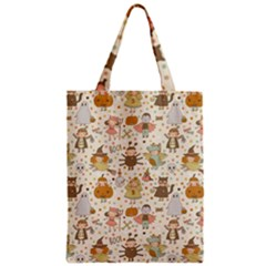 Sinister Helloween Cat Pumkin Bat Ghost Polka Dots Vampire Bone Skull Zipper Classic Tote Bag