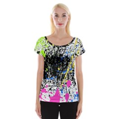 Spot Paint Pink Black Green Yellow Blue Sexy Cap Sleeve Tops
