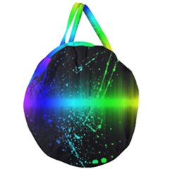 Space Galaxy Green Blue Black Spot Light Neon Rainbow Giant Round Zipper Tote