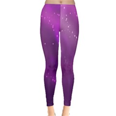 Space Star Planet Galaxy Purple Leggings  by Mariart