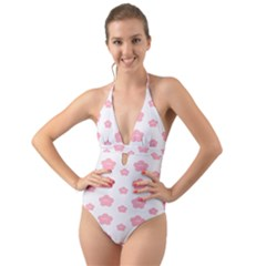 Star Pink Flower Polka Dots Halter Cut Out One Piece Swimsuit by Mariart