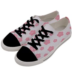 Star Pink Flower Polka Dots Men s Low Top Canvas Sneakers by Mariart