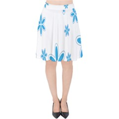 Star Flower Blue Velvet High Waist Skirt by Mariart