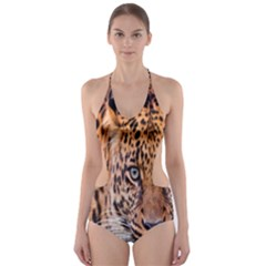 Tiger Beetle Lion Tiger Animals Leopard Cut Out One Piece Swimsuit by Mariart