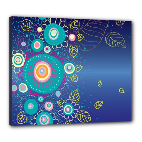 Flower Blue Floral Sunflower Star Polka Dots Sexy Canvas 24  X 20  by Mariart