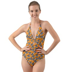 Pattern Halloween Wearing Costume Icreate Halter Cut Out One Piece Swimsuit