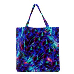 Dark Neon Stuff Blue Red Black Rainbow Light Grocery Tote Bag by Mariart