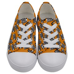 Pattern Halloween  Kids  Low Top Canvas Sneakers