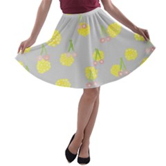 Cute Fruit Cerry Yellow Green Pink A Line Skater Skirt by Mariart
