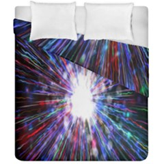 Seamless Animation Of Abstract Colorful Laser Light And Fireworks Rainbow Duvet Cover Double Side (california King Size) by Mariart