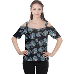 Pattern Halloween Zombies Brains Cutout Shoulder Tee by iCreate