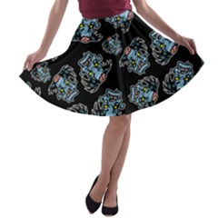 Pattern Halloween Zombies Brains A Line Skater Skirt by iCreate