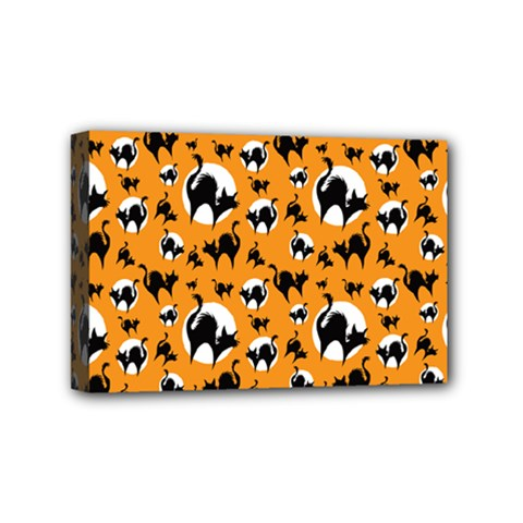 Pattern Halloween Black Cat Hissing Mini Canvas 6  X 4  by iCreate