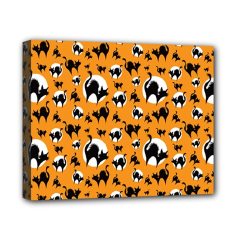 Pattern Halloween Black Cat Hissing Canvas 10  X 8  by iCreate