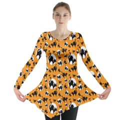 Pattern Halloween Black Cat Hissing Long Sleeve Tunic  by iCreate