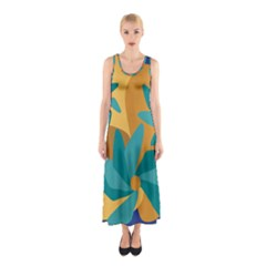 Urban Garden Abstract Flowers Blue Teal Carrot Orange Brown Sleeveless Maxi Dress by CircusValleyMall